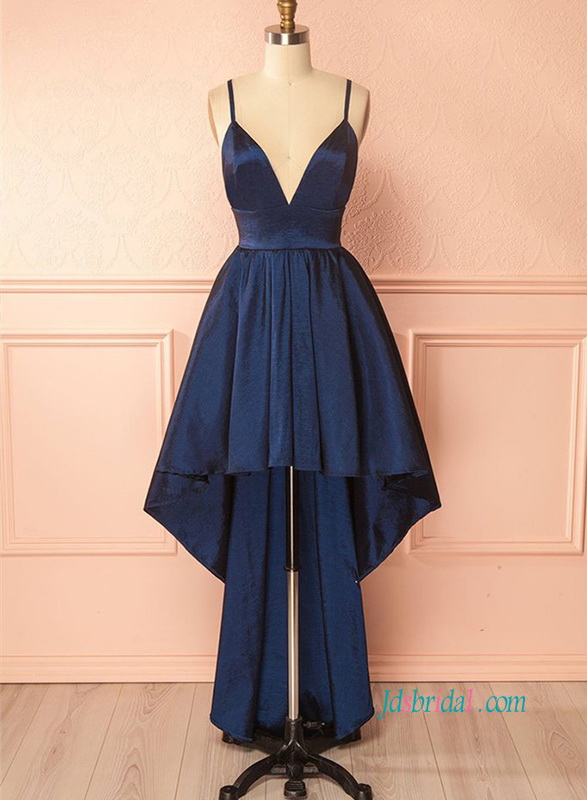 8d5d9a88a9 PD18016 Sexy spaghetti straps navy blue high low prom dress :
