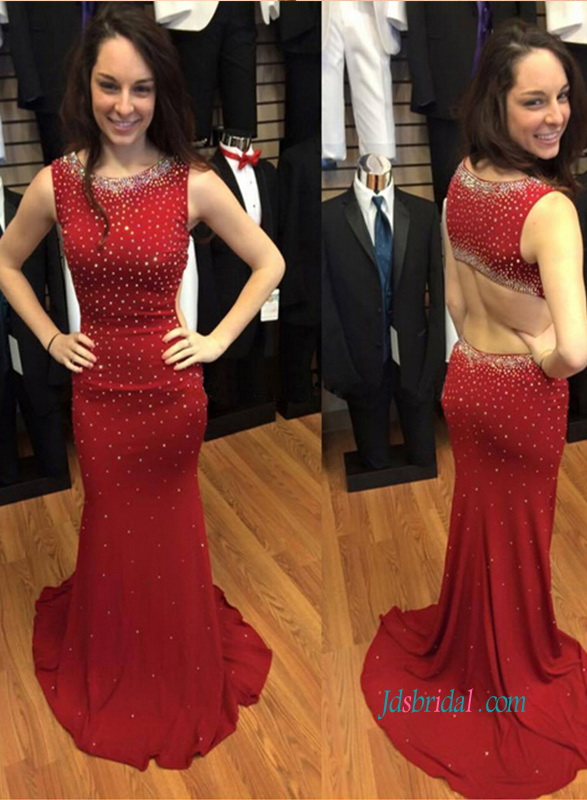 PD18017 Sexy open back red sparkly prom celebrity dress