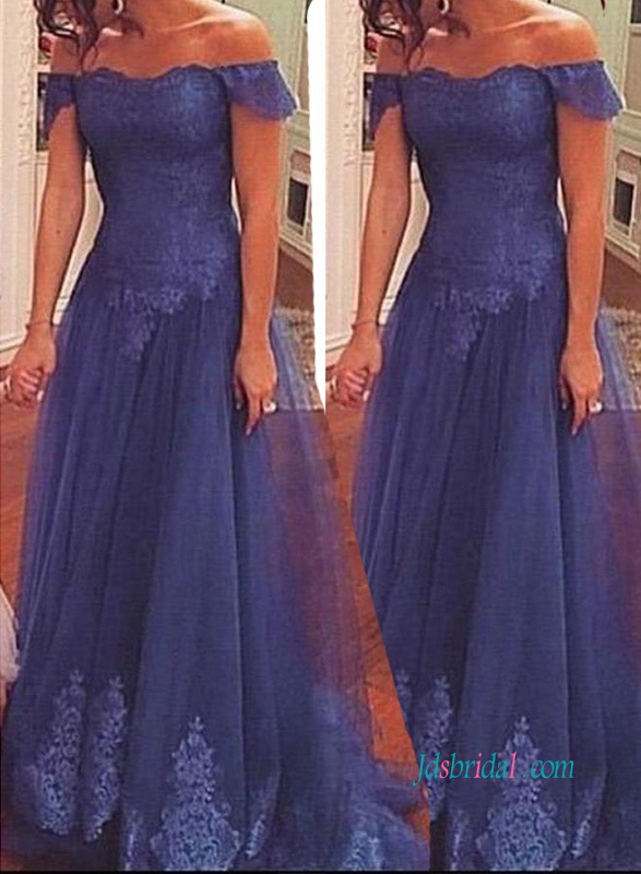 PD18019 Navy blue off the shoulder tulle evening prom dress