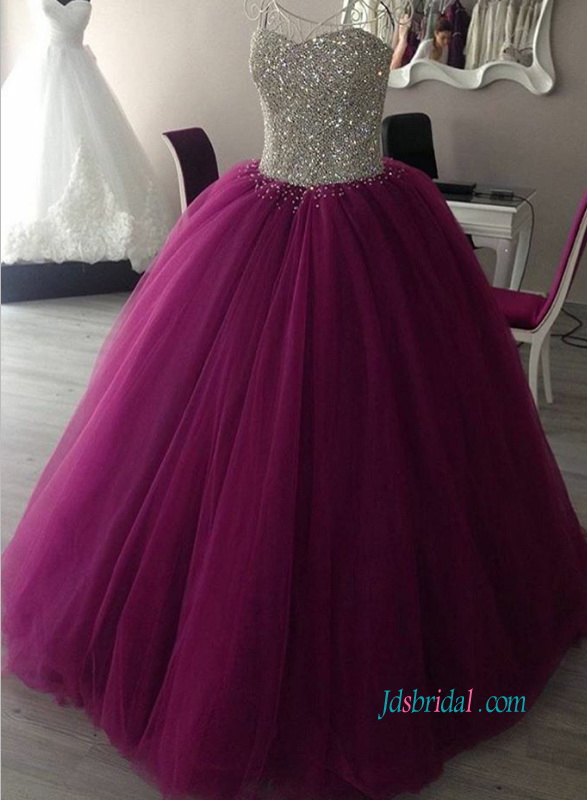PD18020 Sparkles straples silvery sequins bodice purple prom
