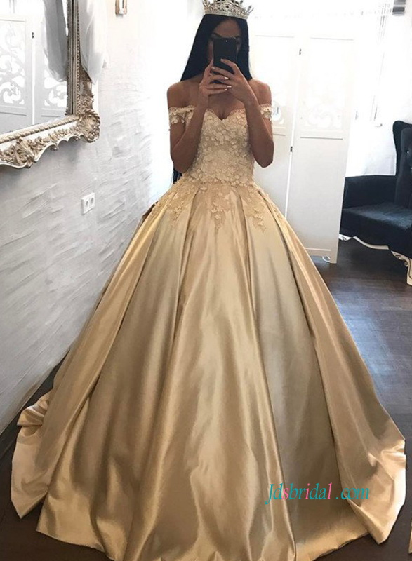 PD18021 Grace off shoulder gold princess ball gown prom dress