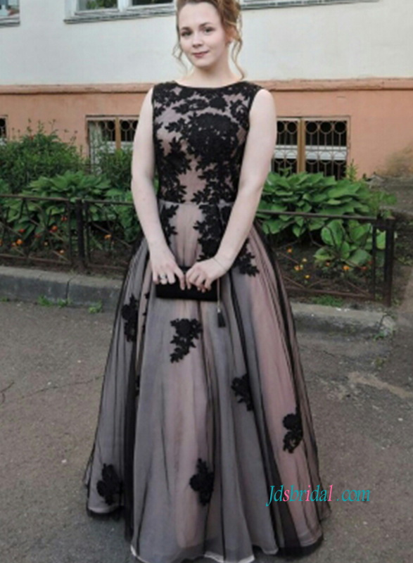 PD18022 Unique black and blush chic evening prom dress quinceanera