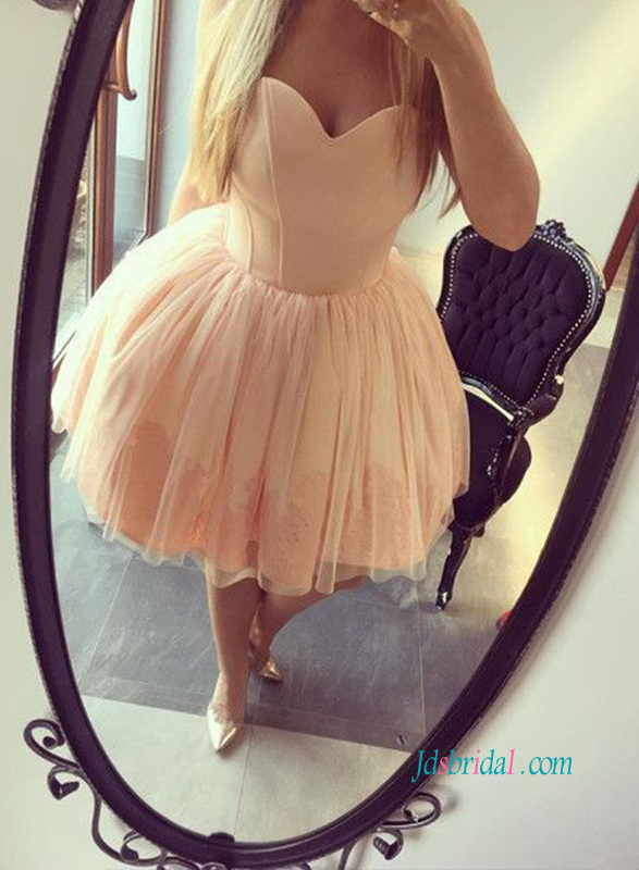 PD18024 Lovely peach coral blush short mini party prom dress