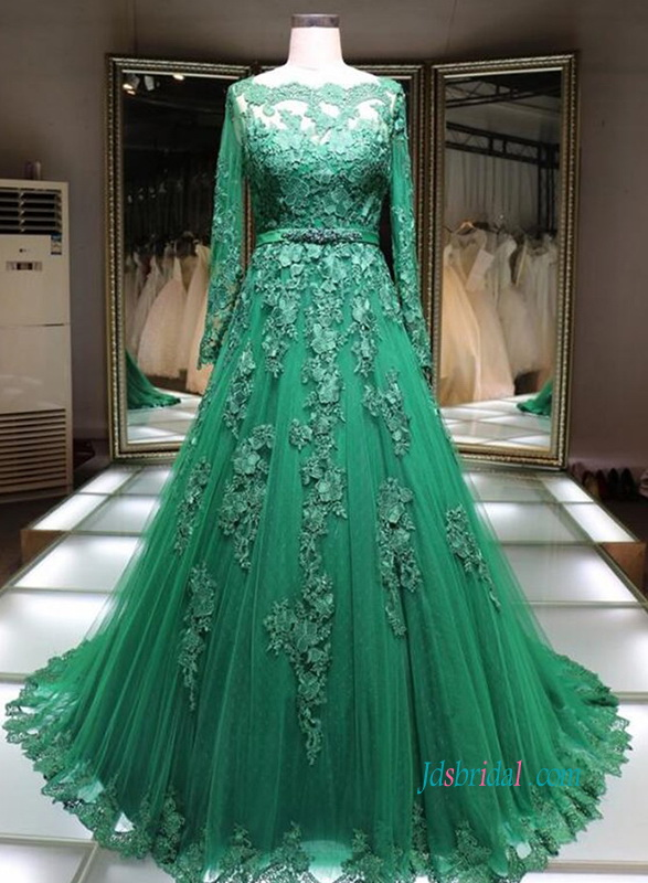 Pd18027 Green Bateau Neck Long Sleeves Celebrity Dress Evening Prom