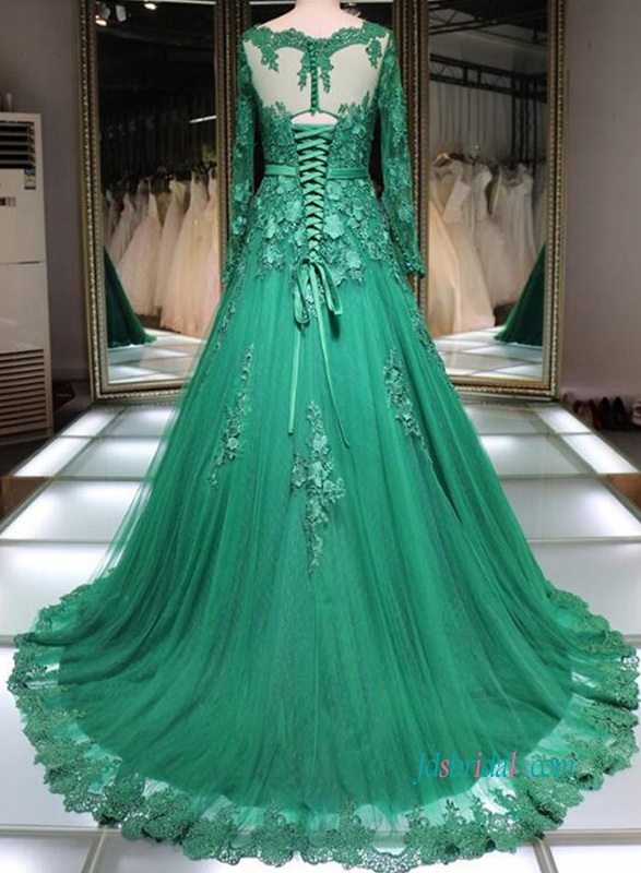 PD18027 Green bateau neck long sleeves celebrity dress evening prom gown