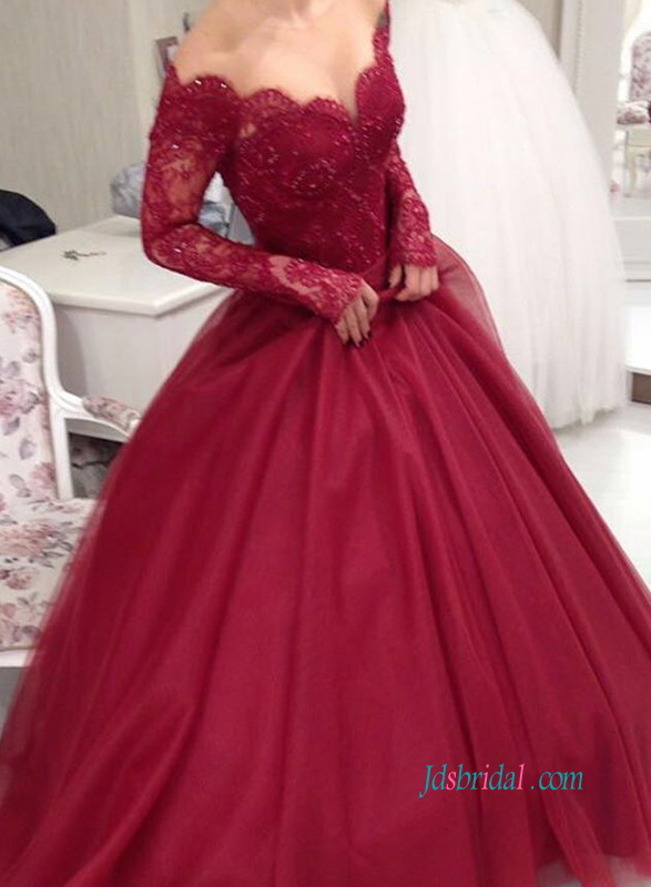 PD18029 Perfect vintage off shoulder burgundy prom ball gown