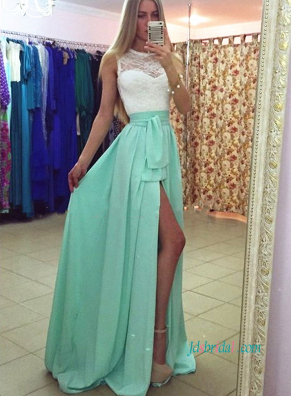 PD18030 Mint green white lace top slit long maxi prom dress