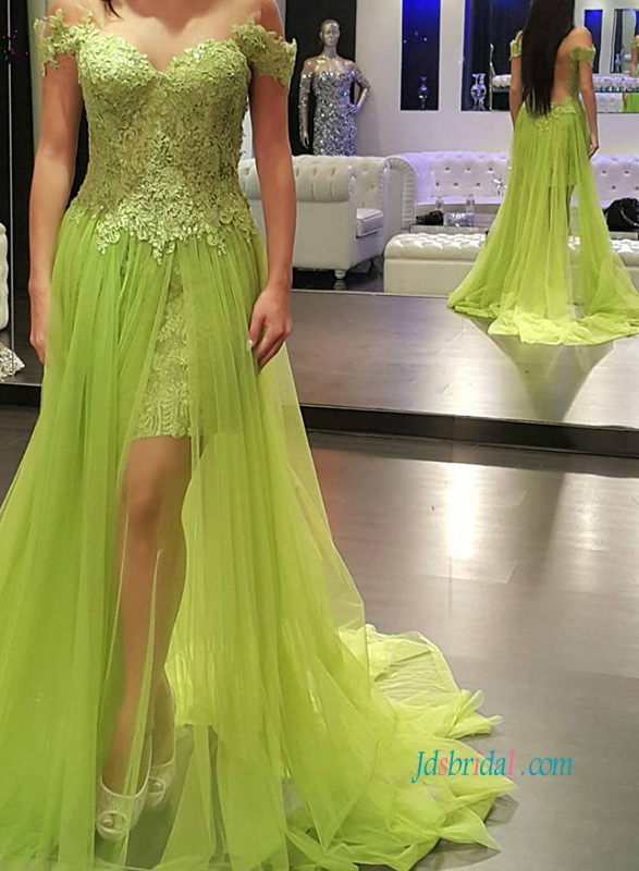 PD18031 Yellow green off shoulder illusion tulle skirt prom dress