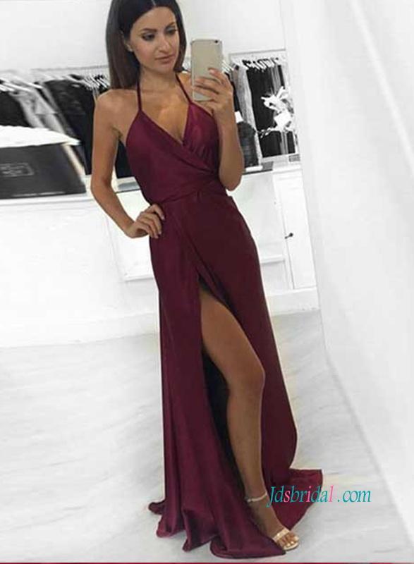 f68a61270ba5 PD18033 Sexy backless maroon brugundy maxi prom dress :