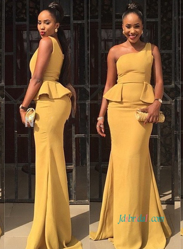 PD18035 Chic one shoulder mimosa yellow color mermaid prom dress