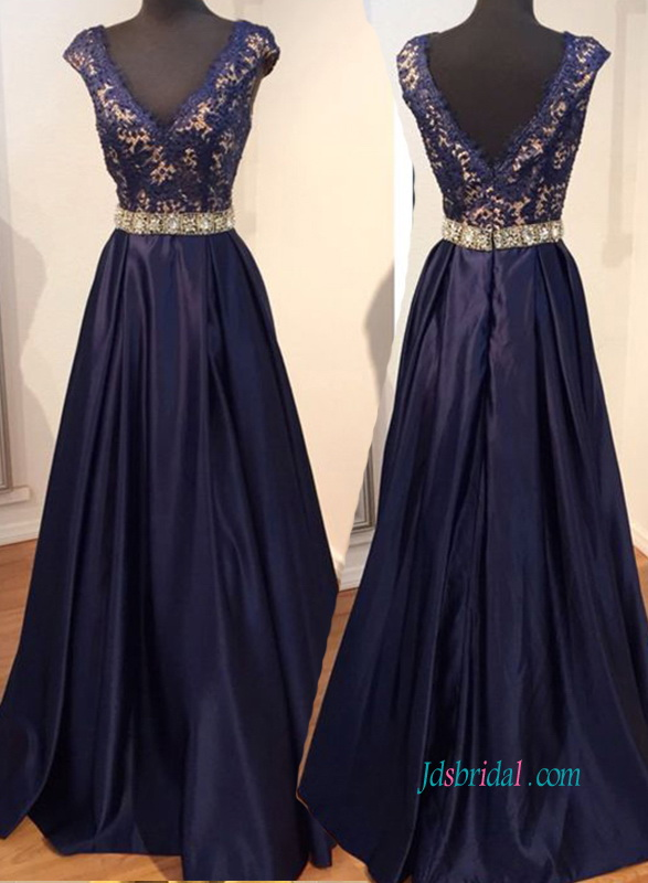 graceful navy blue taffeta a line long evening prom dress with cap sleeves