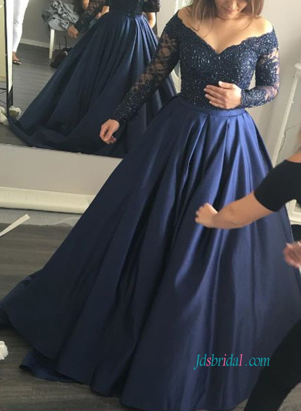 elegant long sleeves lace satin ball gown prom dress celebrity dress quinceanera ball gown