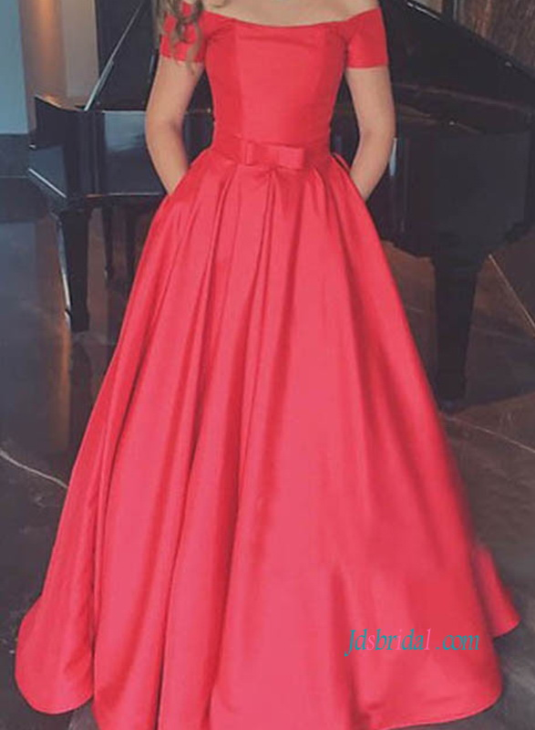 PD18039 Chic off the shoulder red long prom dress with pockets