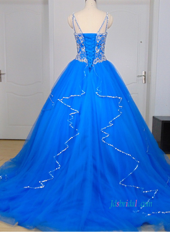 PD18040 Sparkly blush tulle prom ball gown quinceanera dress