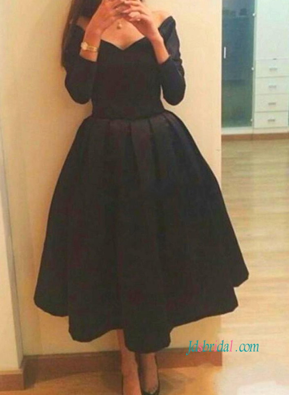 PD18041 Chic off the shoulder black tea length prom party dress
