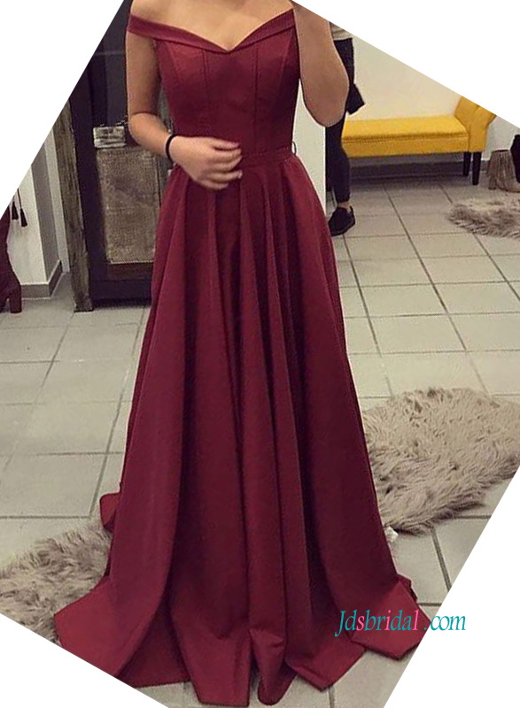 burgundy color off the shoulder a line satin prom dress evening gown