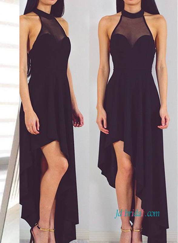 cheap halter neckline black color high low hemline homecoming dress prom gown