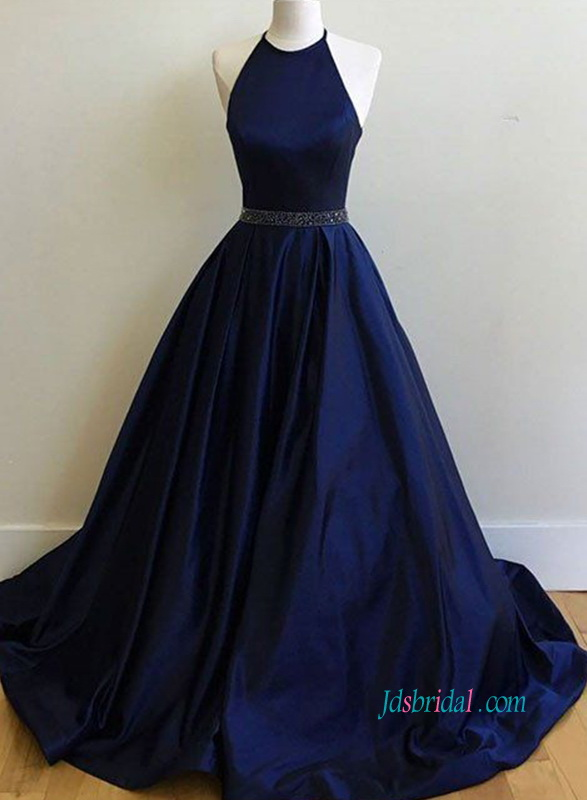 PD18047 Graceful halter neckline royal blue prom ball gown
