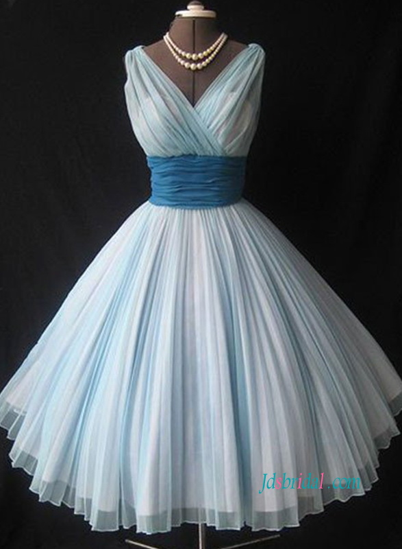 vintage inspired tea length chiffon prom dress homecoming gown