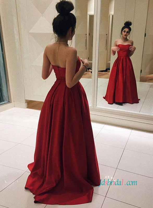 PD18052 Simple red strapless school prom party dress