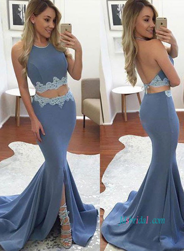 PD18053 Sexy separates two pieces prom dress grad gown