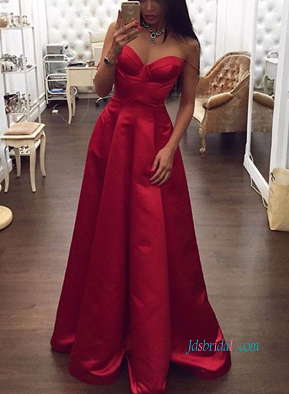 sexy red spaghetti straps sweetheart a line long school prom dress evening gowns