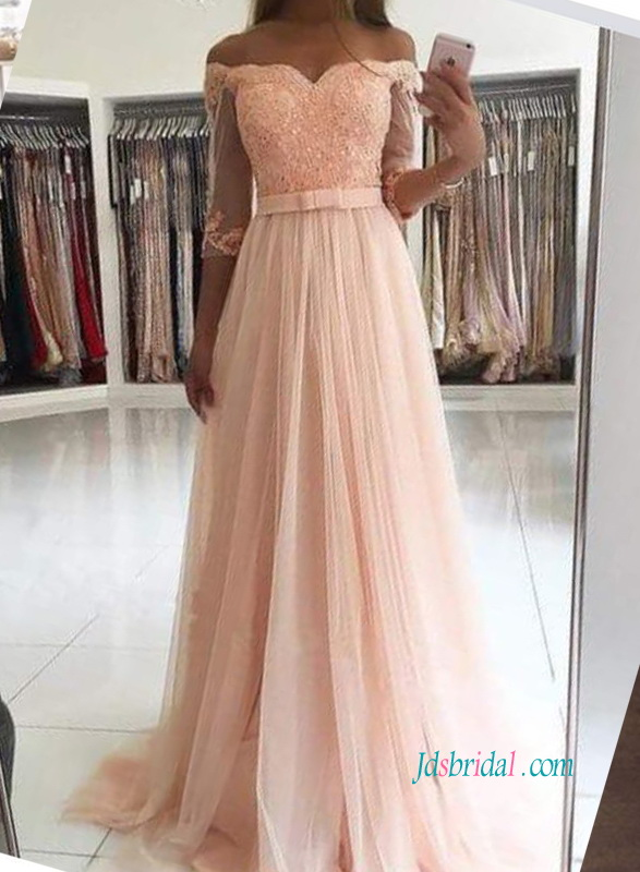 gracefull off the shoulder 1/2 length sleeves tulle long prom dress evening dress