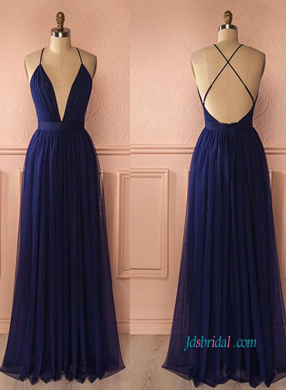 PD18056 Sexy backless navy blue long maxi dress prom gown