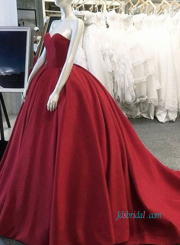 PD18057 Elegant red burgundy color evening ball gown prom dress