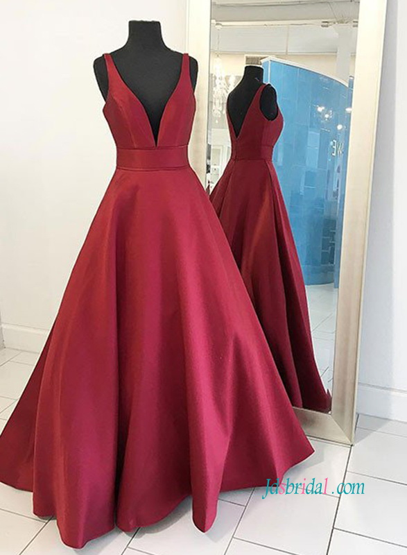 PD18059 Sexy burgundy color plunging satin prom dress