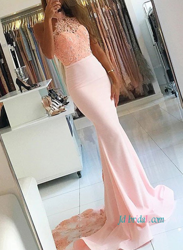 PD18062 Peach pink colored high neckline mermaid evening prom dress