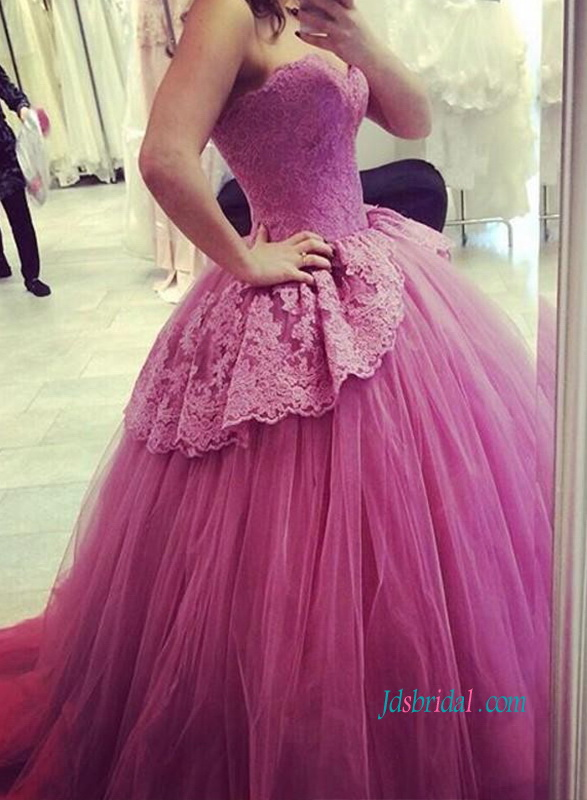 PD18065 Gorgous violet red tulle ball gown prom dress