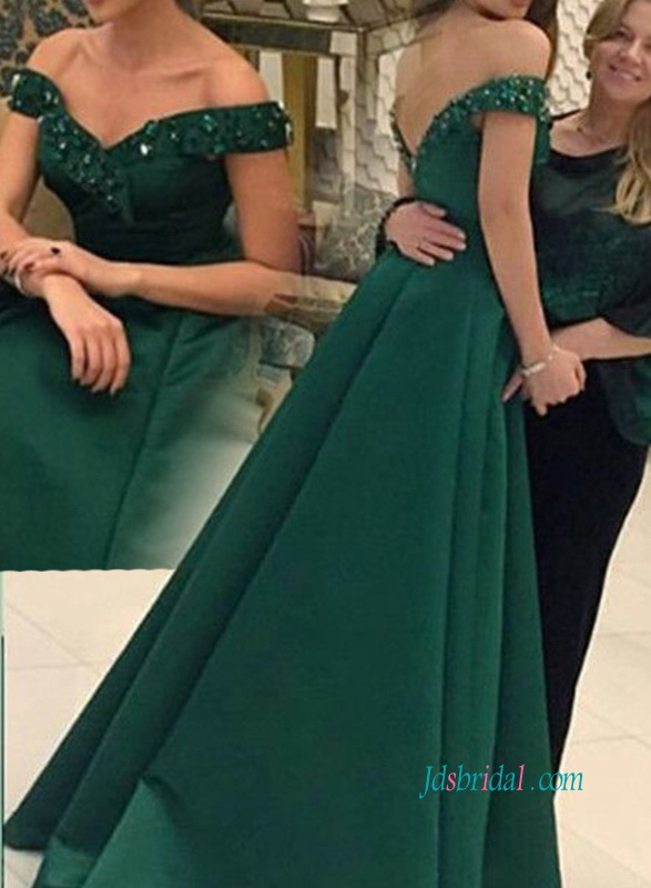 PD18066 Dark green off the shoulder long prom evening dress