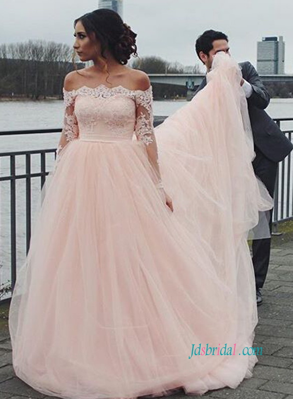 2018 soft tulle light blush pink colored tulle princess wedding dress with long sleeves and off shoulder neckline