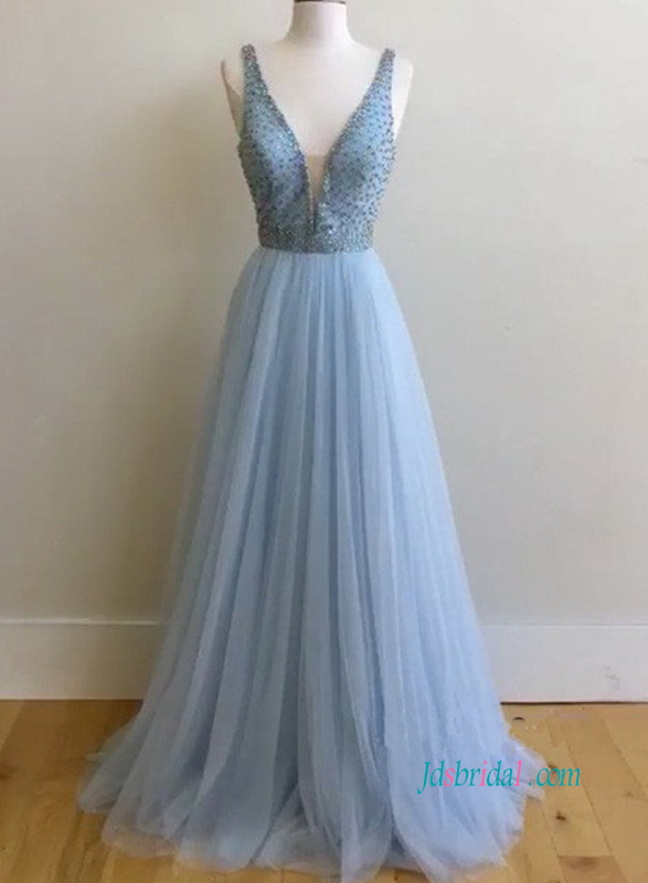 PD18071 Light blue beading bodice tulle prom evening dress
