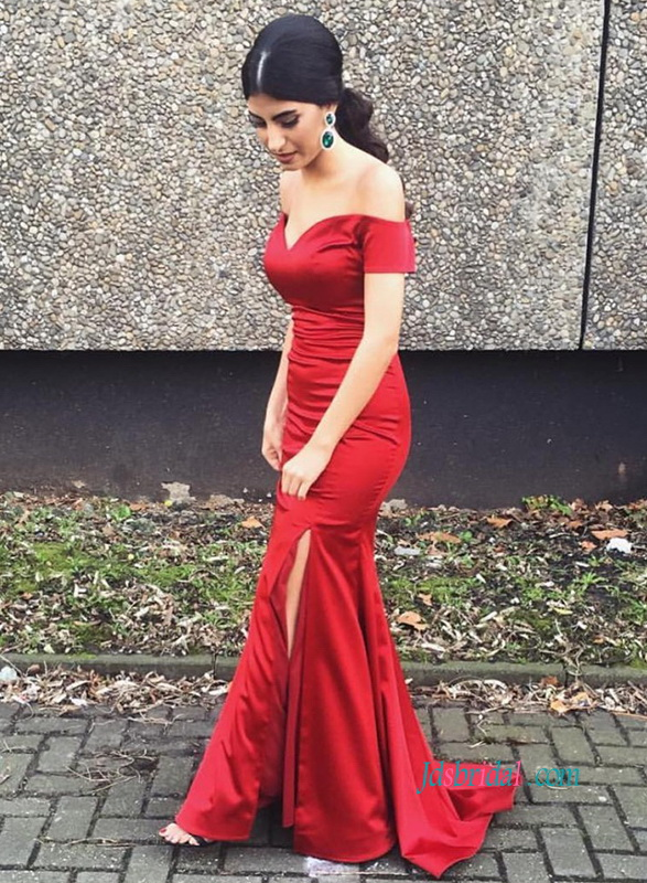 PD18072 Red burgundy off the shoulder slit mermaid prom dress