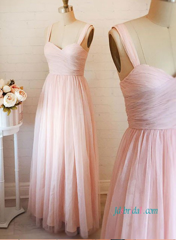 PD18073 Light pink sweetheart neckline tulle a line prom dress