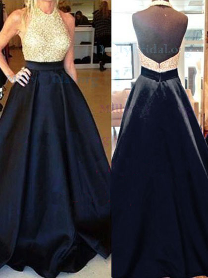 PD18074 Sexy halter neckline gold and navy blue prom ball gown