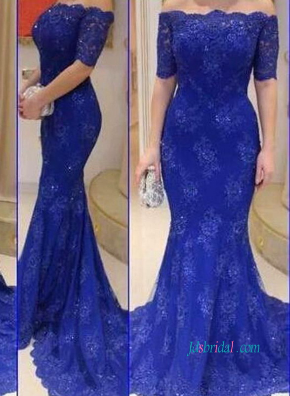 PD18075 Formal off the shoulder lace mermaid prom dress in royal blue