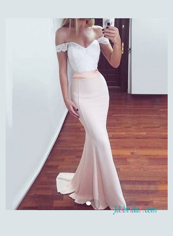 PD18078 white and pink mermaid prom gown bridesmaid dress
