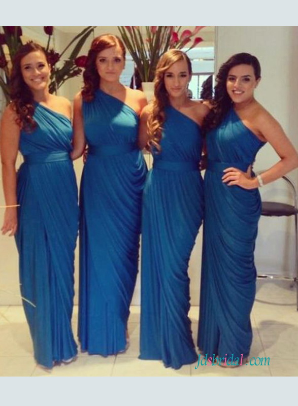 grecian stylish one shoulder bridesmaid dress sheath prom dresses in blue