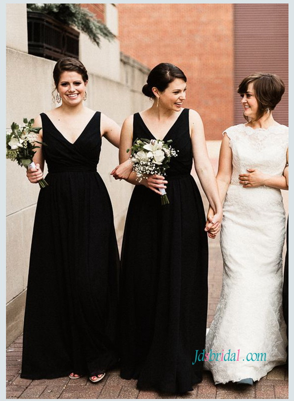 PD18080 Black v neckline simple long bridesmaid dress cheap