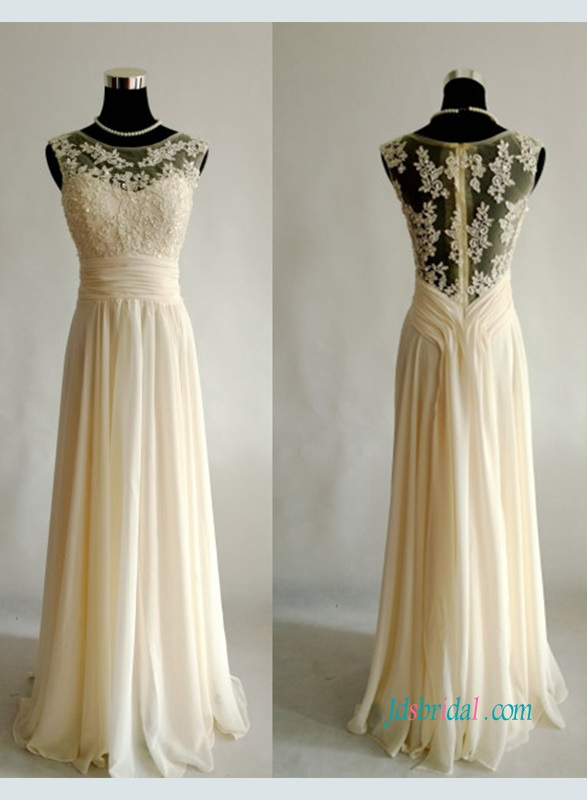 2018 light yellow champagne colored lace and chiffon a line long prom dress
