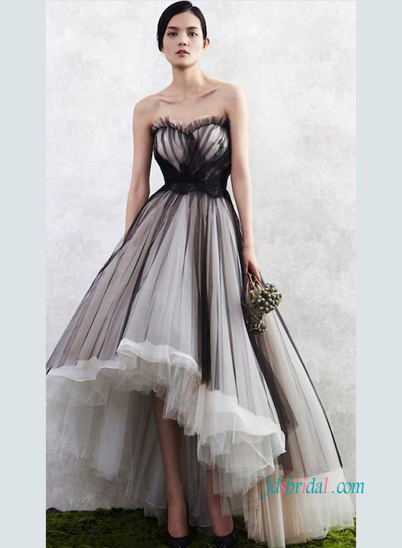 PD18082 Black and champagne ivory tulle high low prom gown