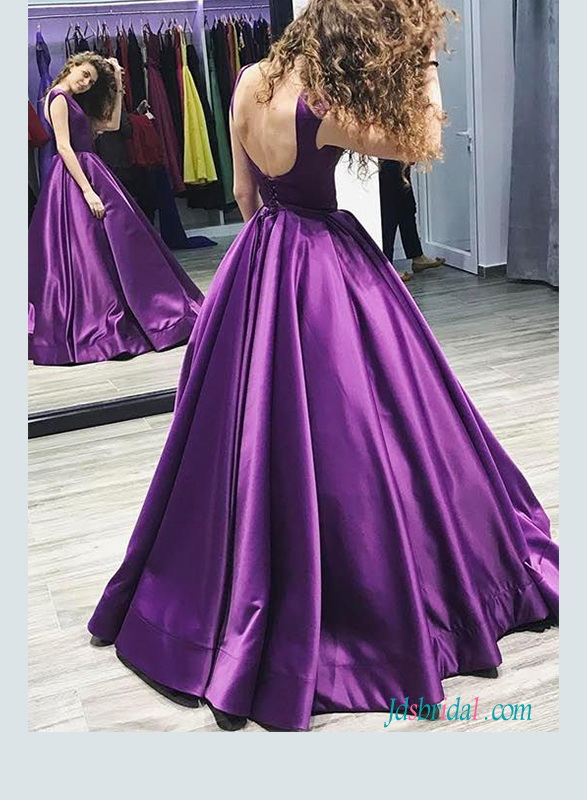 2018 purple colored satin ball gown prom dress with bateau neckline and low back