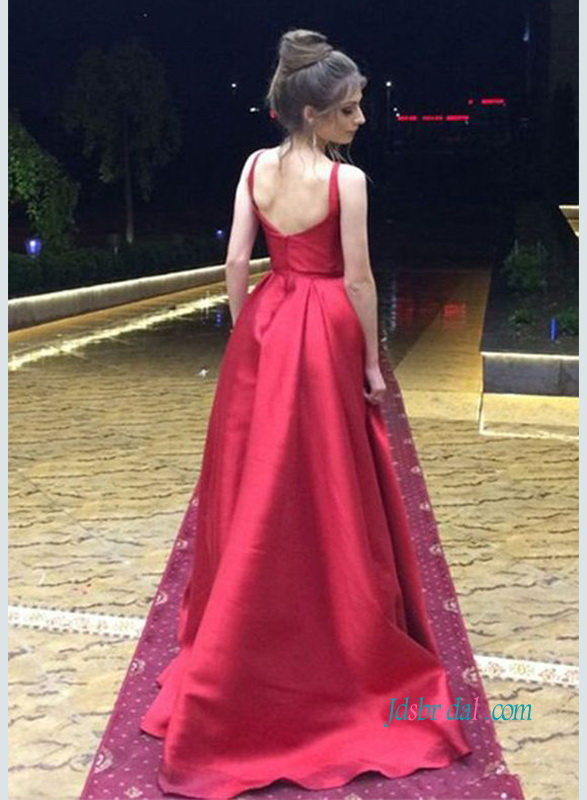 PD18085 Long wine red burgundy prom dress evening gowns