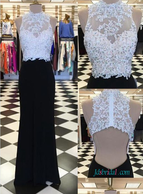 PD18086 white and black open back sheath prom dress evening dress