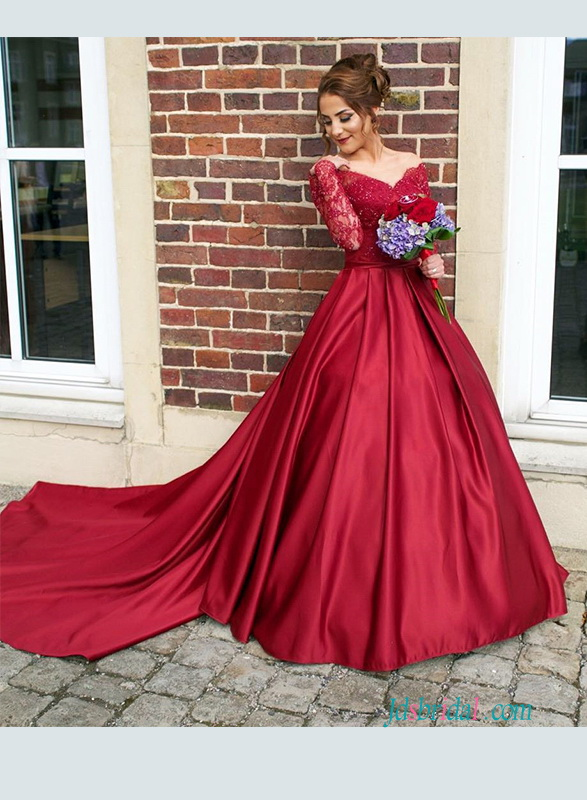 PD18087 Burgundy off the shoulder red satin prom dress with long sleeves 138d58ecc