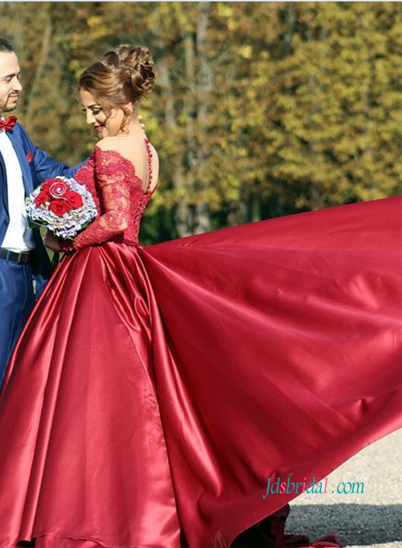 PD18087 Burgundy off the shoulder red satin prom dress with long sleeves