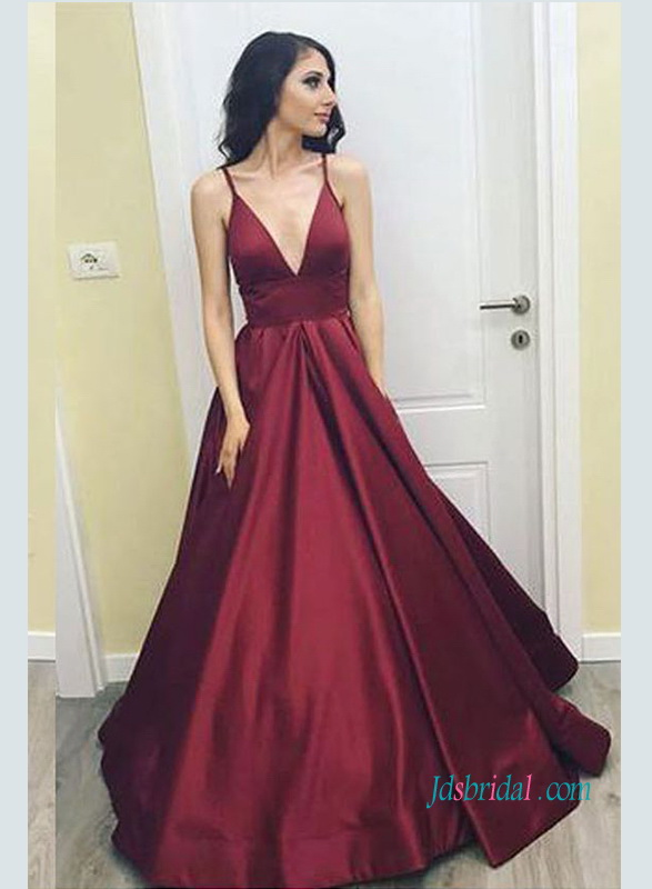 informal sexy burgundy red colored satin ball gown prom dress with deep v neckline